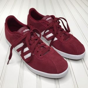 Adidas Courtset Sneakers Burgundy 3 Stripe Sz 9.5